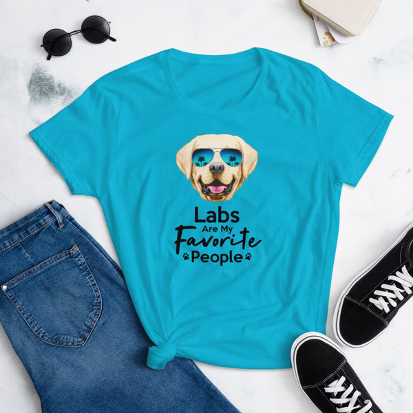 Labs Are My Favorite People Funny Labrador T-Shirt for Women-Caribbean Blue-Funny Dog Shirts.com