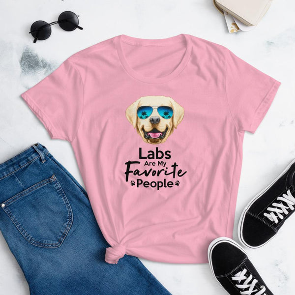 Labs Are My Favorite People Funny Labrador T-Shirt for Women-Charity Pink-Funny Dog Shirts.com
