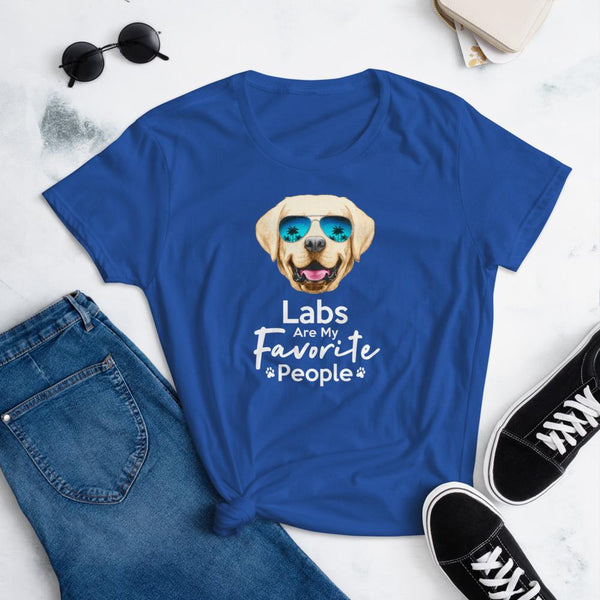 Labs Are My Favorite People Funny Labrador T-Shirt for Women-Royal Blue-Funny Dog Shirts.com