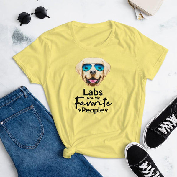 Labs Are My Favorite People Funny Labrador T-Shirt for Women-Spring Yellow-Funny Dog Shirts.com