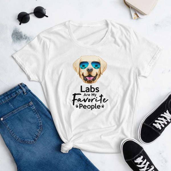 Labs Are My Favorite People Funny Labrador T-Shirt for Women-White-Funny Dog Shirts.com