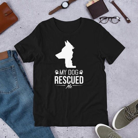 My Dog Rescued Me Dog T-Shirt for Men-Black-Funny Dog Shirts.com