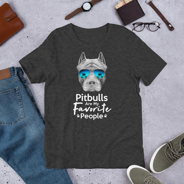 Pitbulls Are My Favorite People Funny Pitbull Shirt for Men-Dark Grey Heather-Funny Dog Shirts.com