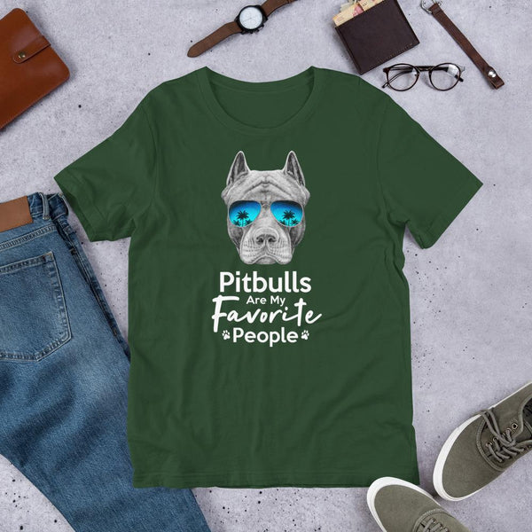 Pitbulls Are My Favorite People Funny Pitbull Shirt for Men-Forest-Funny Dog Shirts.com