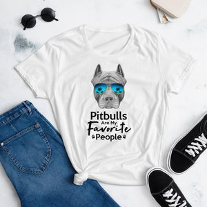 Pitbulls Are My Favorite People Funny Pitbull T-Shirt for Women-White-Funny Dog Shirts.com