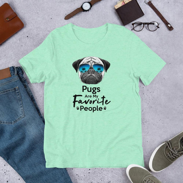 Pugs Are My Favorite People Funny Pug Shirt for Men-Heather Mint-Funny Dog Shirts.com