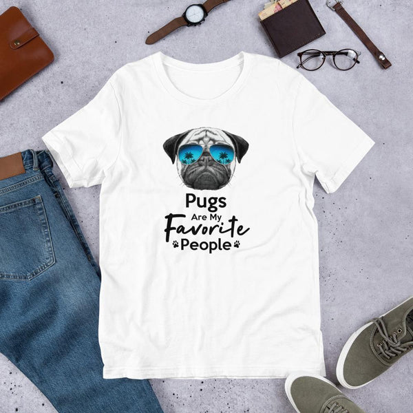 Pugs Are My Favorite People Funny Pug Shirt for Men-White-Funny Dog Shirts.com