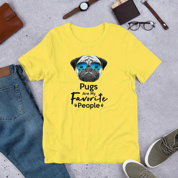 Pugs Are My Favorite People Funny Pug Shirt for Men-Yellow-Funny Dog Shirts.com
