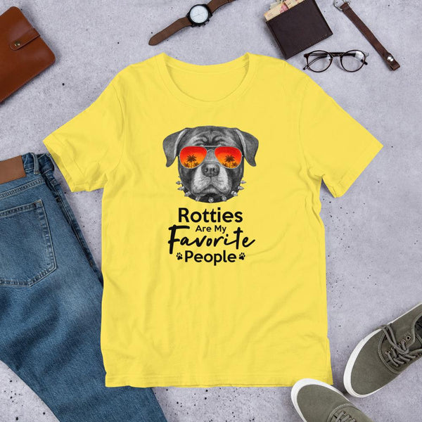 Rotties Are My Favorite People Funny Rottweiler Shirt for Men-Yellow-Funny Dog Shirts.com