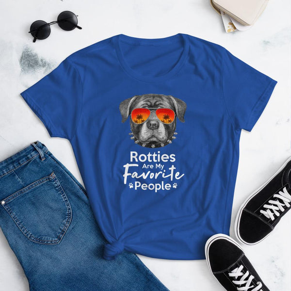 Rotties Are My Favorite People Funny Rottweiler Shirt for Women-Royal Blue-Funny Dog Shirts.com