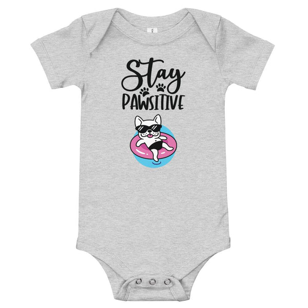 Stay Pawsitive Funny Dog Onesie for Babies-Athletic Heather-Funny Dog Shirts.com