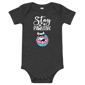Stay Pawsitive Funny Dog Onesie for Babies-Dark Grey Heather-Funny Dog Shirts.com
