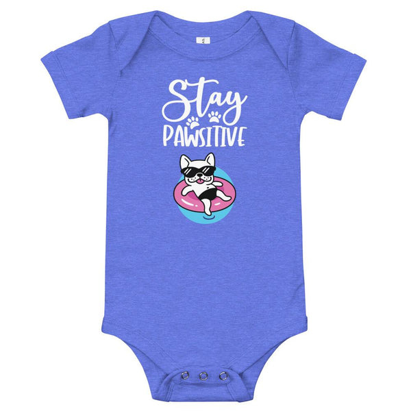 Stay Pawsitive Funny Dog Onesie for Babies-Heather Columbia Blue-Funny Dog Shirts.com