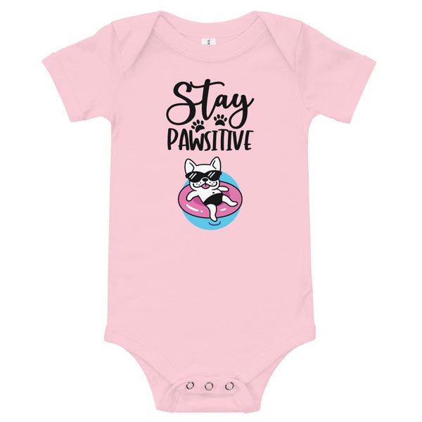 Stay Pawsitive Funny Dog Onesie for Babies-Pink-Funny Dog Shirts.com