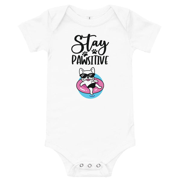 Stay Pawsitive Funny Dog Onesie for Babies-White-Funny Dog Shirts.com