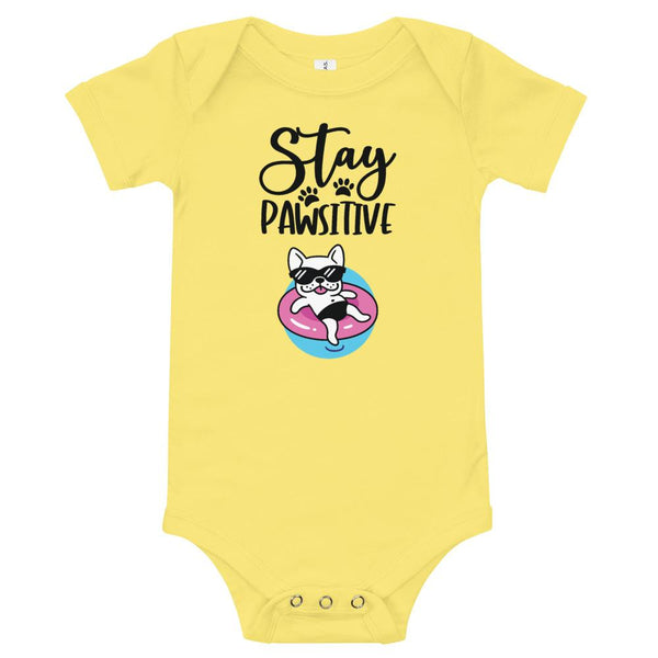 Stay Pawsitive Funny Dog Onesie for Babies-Yellow-Funny Dog Shirts.com