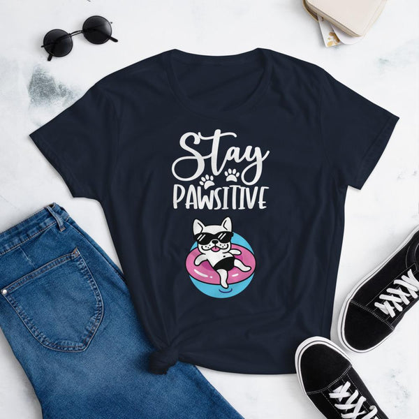Stay Pawsitive Funny Dog Shirt for Women-Navy-Funny Dog Shirts.com