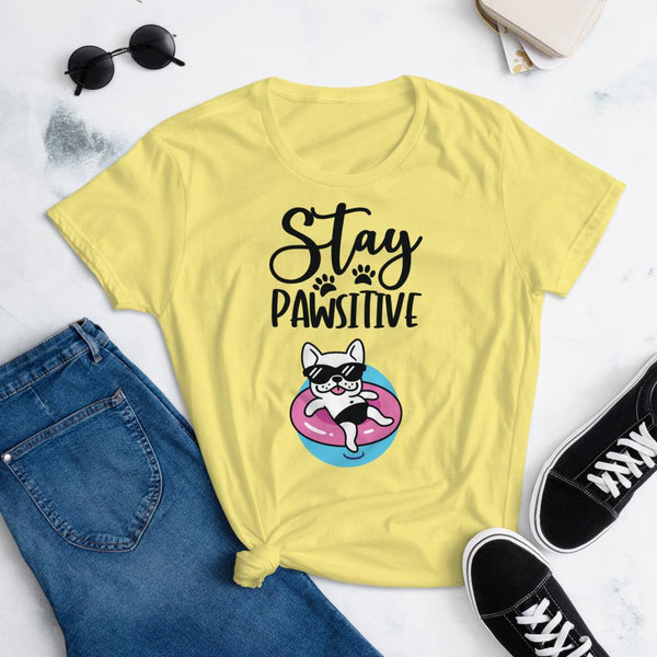 Stay Pawsitive Funny Dog Shirt for Women-Spring Yellow-Funny Dog Shirts.com