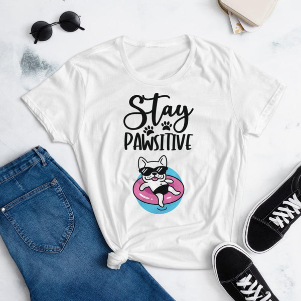 Stay Pawsitive Funny Dog Shirt for Women-White-Funny Dog Shirts.com