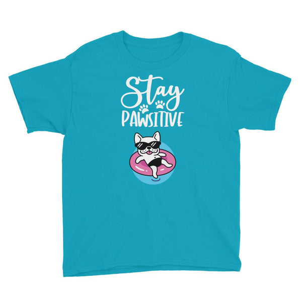 Stay Pawsitive Funny Dog T-Shirt for Kids in Youth Sizes-Caribbean Blue-Funny Dog Shirts.com