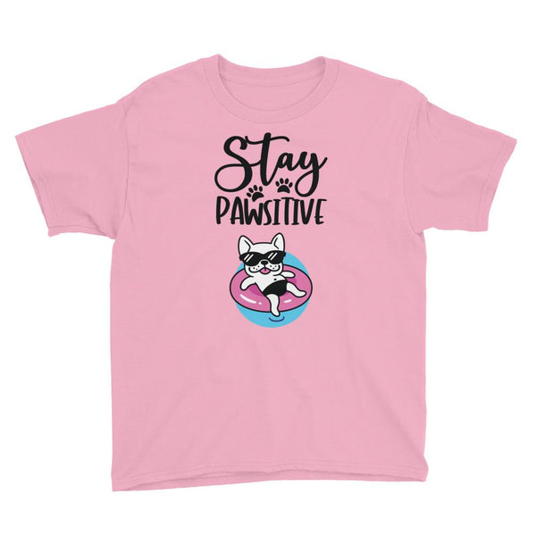 Stay Pawsitive Funny Dog T-Shirt for Kids in Youth Sizes-Charity Pink-Funny Dog Shirts.com