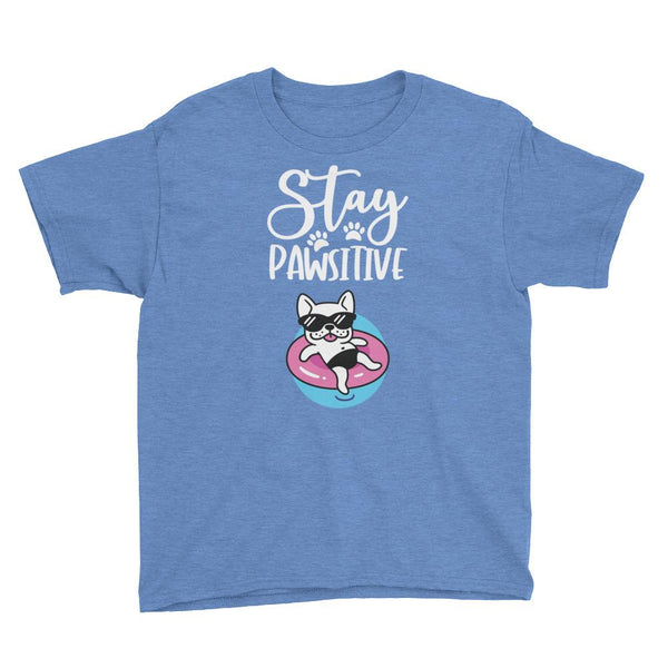 Stay Pawsitive Funny Dog T-Shirt for Kids in Youth Sizes-Heather Royal-Funny Dog Shirts.com