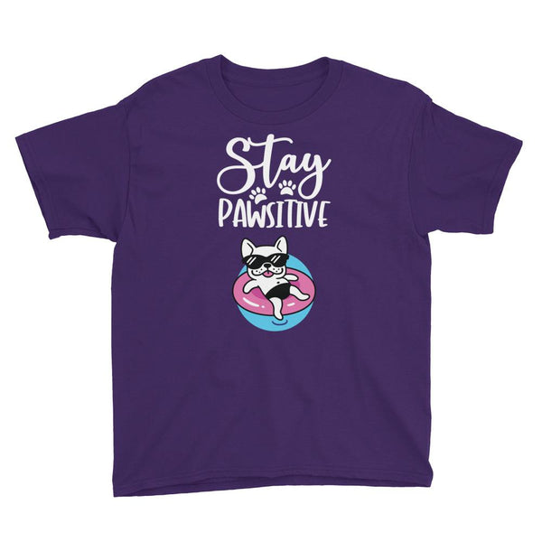 Stay Pawsitive Funny Dog T-Shirt for Kids in Youth Sizes-Purple-Funny Dog Shirts.com