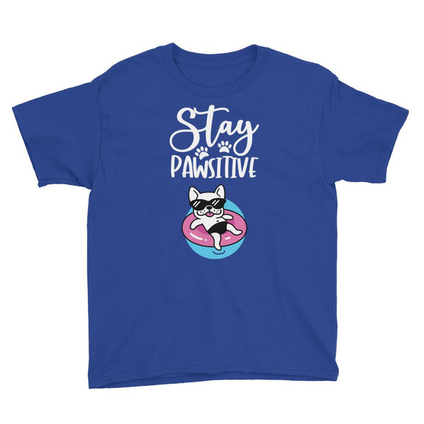Stay Pawsitive Funny Dog T-Shirt for Kids in Youth Sizes-Royal Blue-Funny Dog Shirts.com