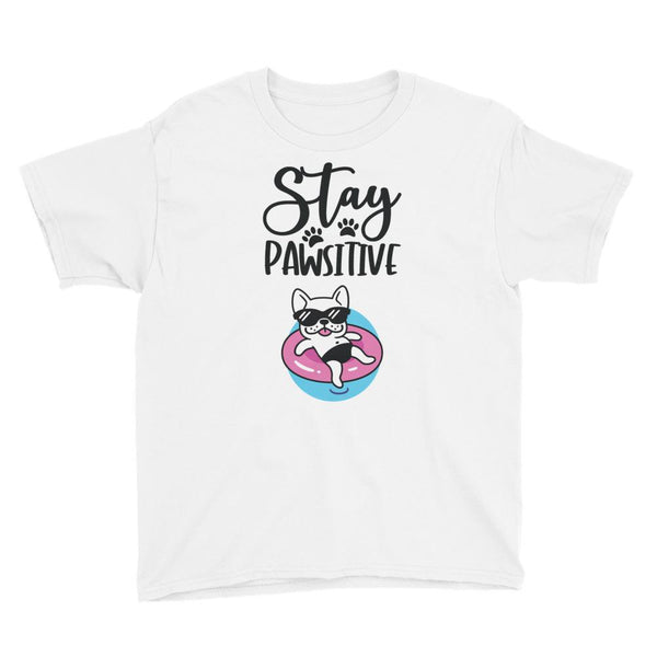 Stay Pawsitive Funny Dog T-Shirt for Kids in Youth Sizes-White-Funny Dog Shirts.com