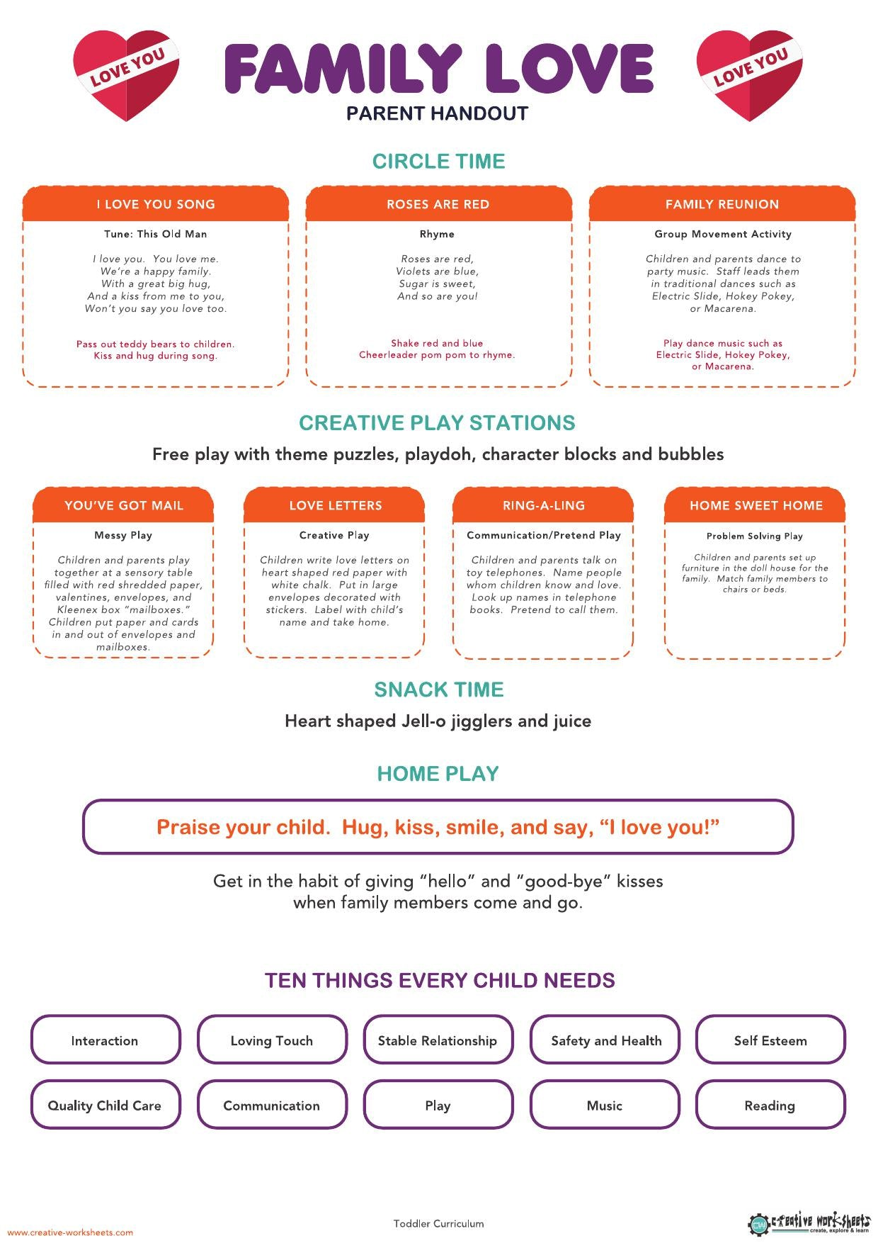 FAMILY LOVE - TODDLER CURRICULUM - CreativeWorksheets