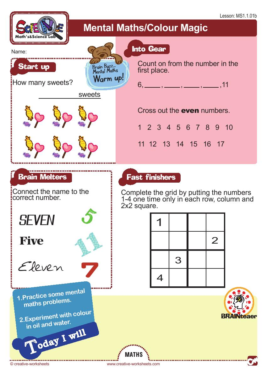 Math & Science Lab - Block 1 - CreativeWorksheets