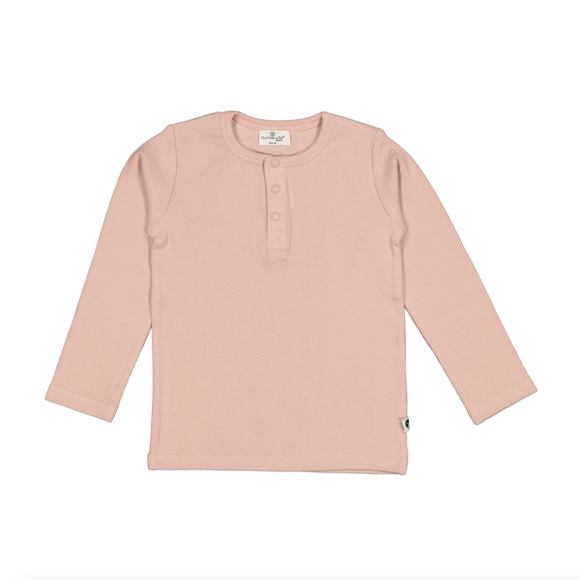 Rib Henley Top - Dusty Rose
