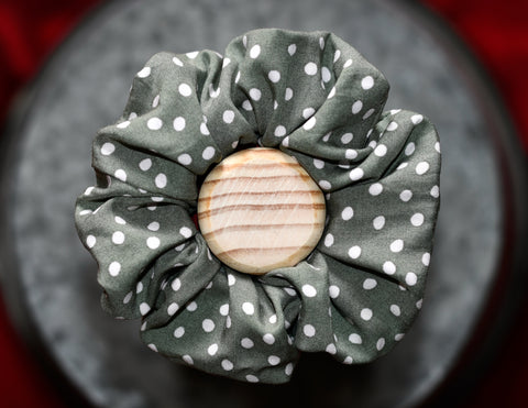 Spotty Sage Scrunchie