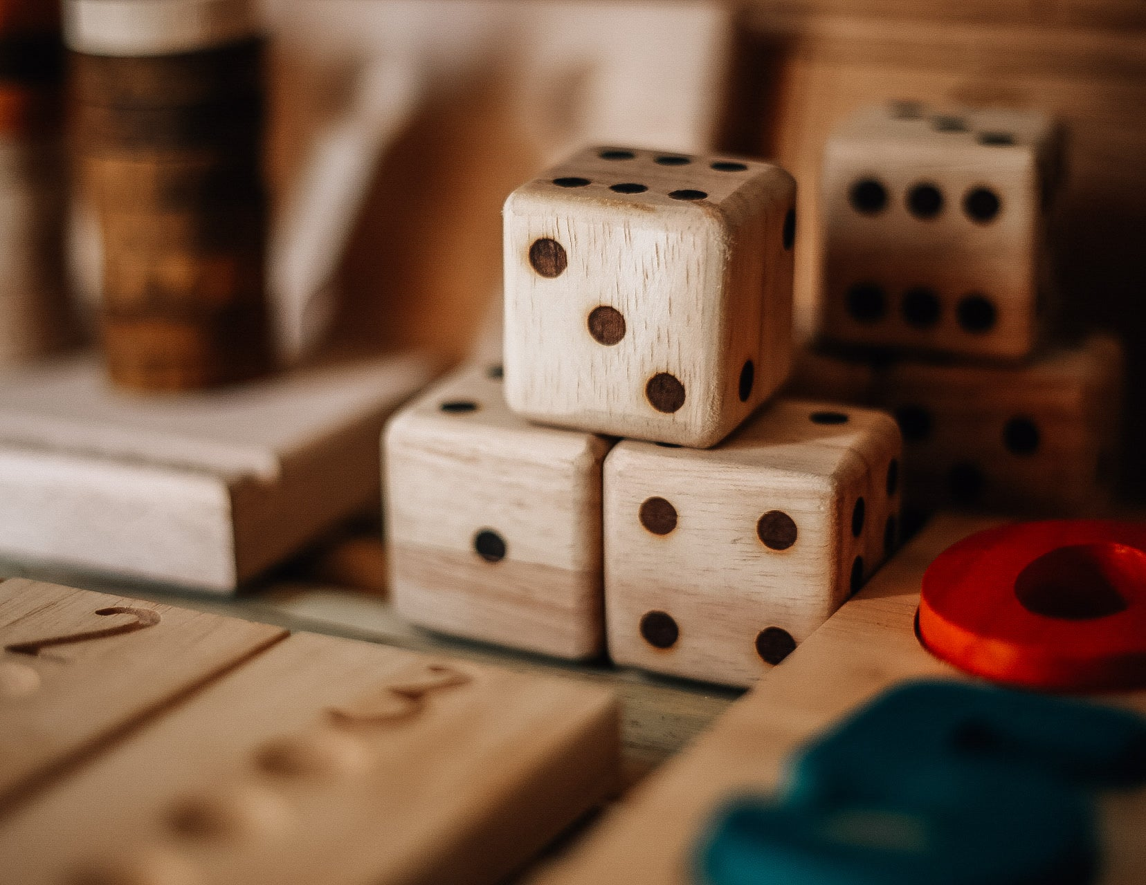 Wooden Dice Set of 6