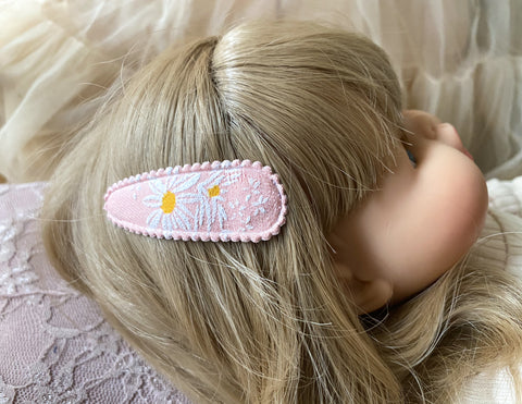 Mini Scrunchies or Fabric Clips - Pink Daisy