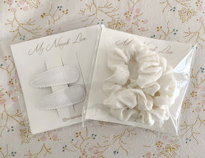 Mini Scrunchies or Fabric Clips - White Linen