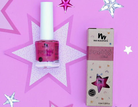 Bright Pink Water-Based Nail Polish for Kids