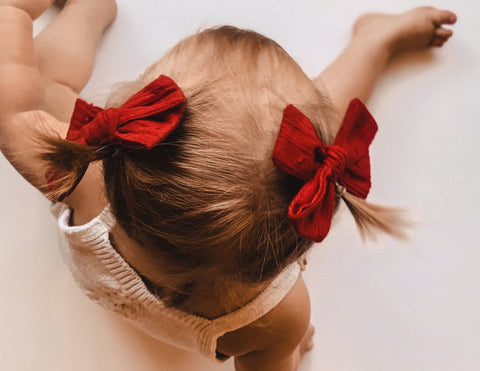 Pinwheel Bow, Fabric Clips or Mini Scrunchies - Ruby Red