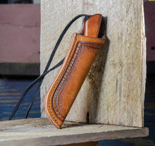Load image into Gallery viewer, Bushcraft Neck Knife, custom hand forged knife, Made in the USA