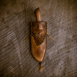 Hand forged mountain man frontier knife and handstitched deer hide sheath