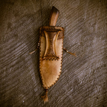 Load image into Gallery viewer, Hand forged mountain man frontier knife and handstitched deer hide sheath