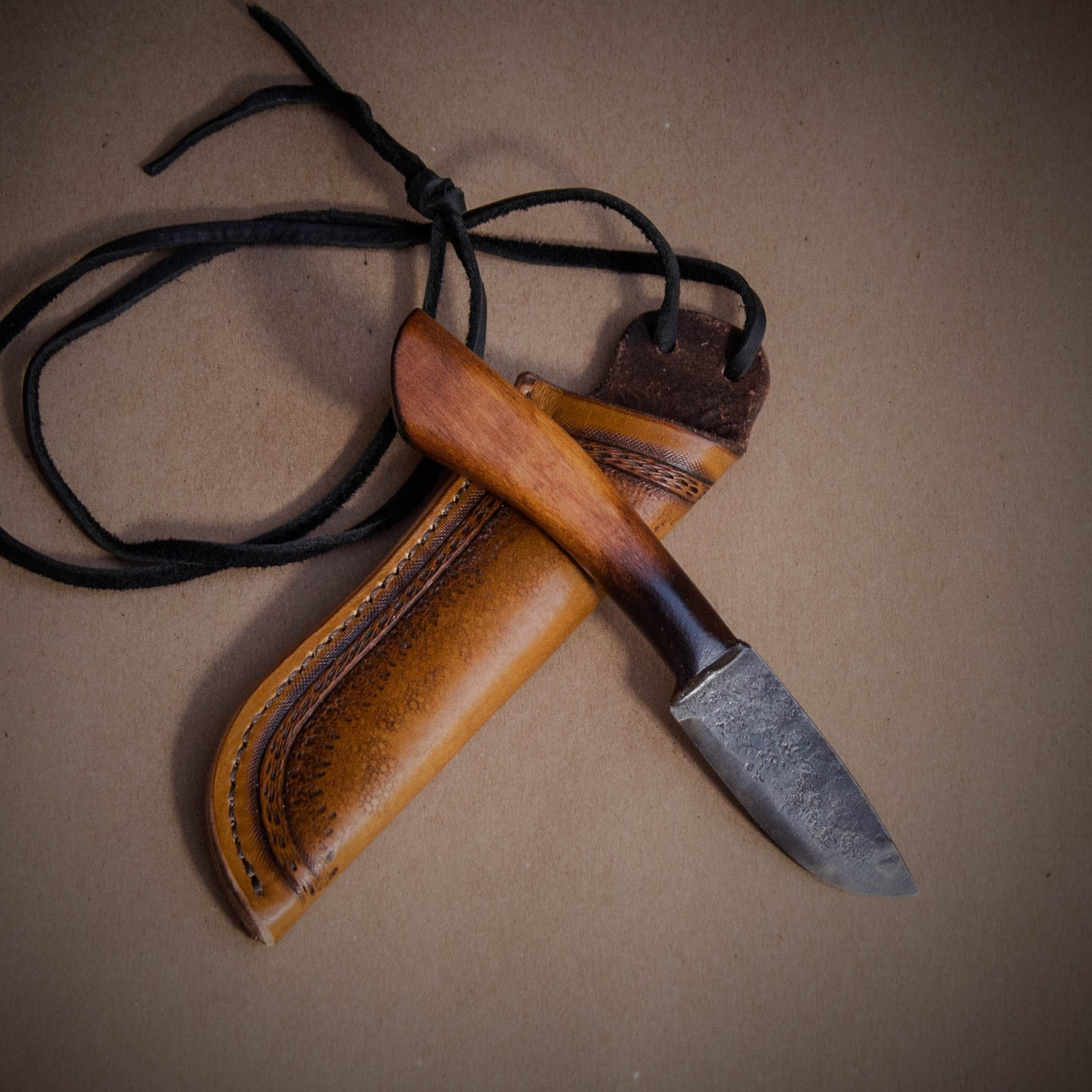 Bushcraft Neck Knife, custom hand forged knife, Made in the USA