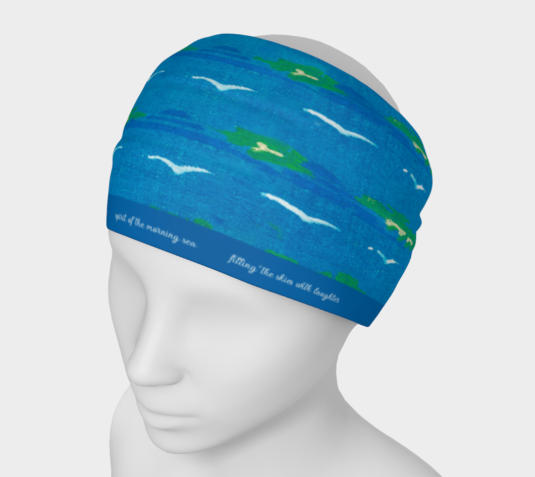 Blue Skies with White Birds Japanese Pattern Headband - Richard Watson