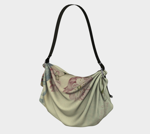 Pink Almond Flowers Vintage Art Origami Tote Bag - D.H. Lawrence