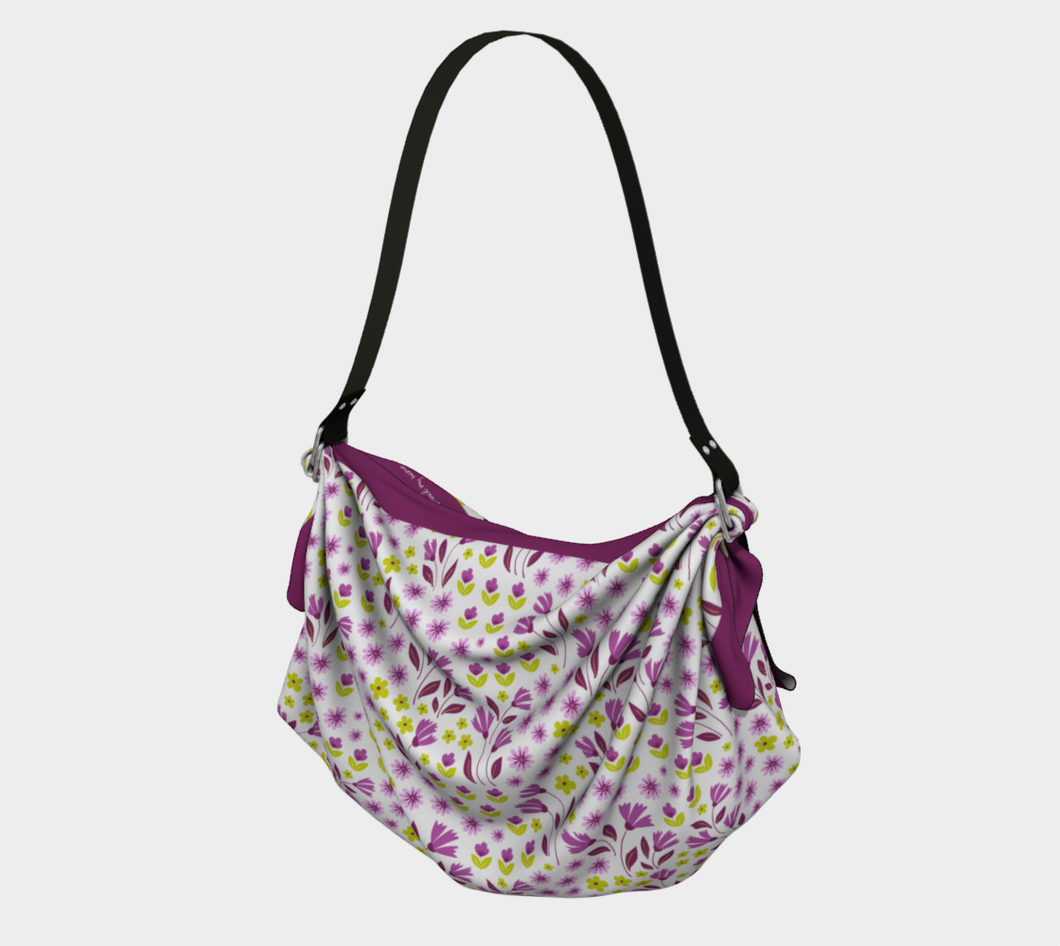 White Square Origami Tote Bag with Purple Flowers - Geoffrey Chaucer