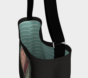 Dark Gray Tote Bag with a Vintage Blue Sea Shell Illustration  - James Stephens
