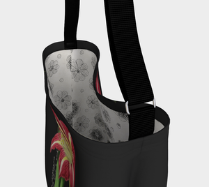 Dark Gray Tote Bag with Vintage Lily Illustration  - W.S. Gilbert