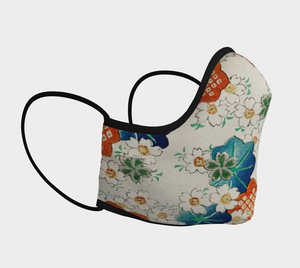 White Vintage Floral Pattern Face Covering - Matsuo Bashou