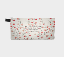 Load image into Gallery viewer, White Vintage Floral Pattern Pencil Case from Bijutsu Sekai - Kobayashi Issa