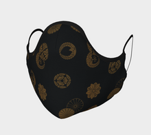 Load image into Gallery viewer, Black and Gold Vintage Japanese Pattern Face Covering - William Shakespeare